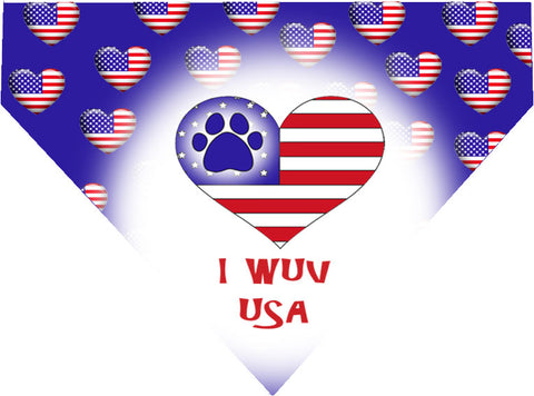 Plus Size Pups 4th of July Dog Bandana I Wuv USA