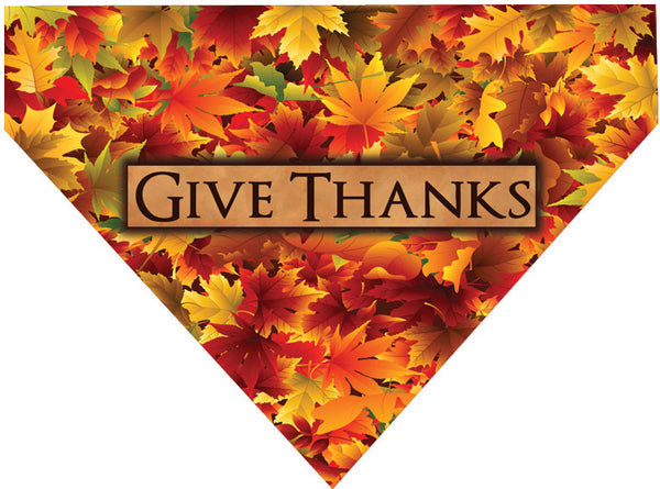 Thanksgiving Over the Collar Dog Bandana - Give Thanks Leaf