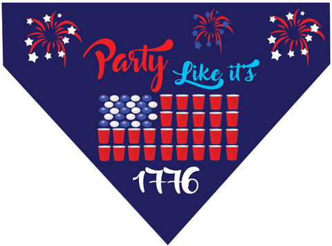 Plus Size Pups 4th of July Dog Bandana Party Like Its 1776