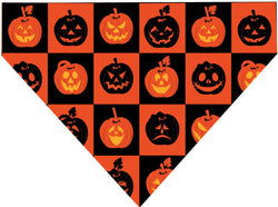 Halloween Over the Collar Dog Bandana - Pumpkin Squares