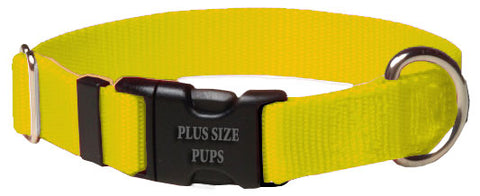 Plus Size Pups Solid Color Dog Collar Yellow