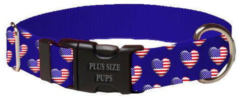 Print Pattern Dog Collar - 4th of July Heart Flag on Blue Webbing