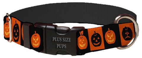 Print Pattern Dog Collar - Halloween Pumpkin Squares
