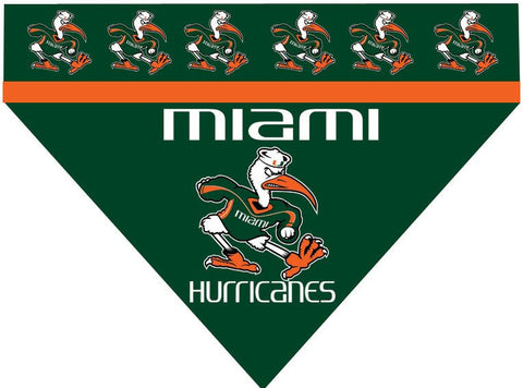 Over the Collar Dog Bandanna - College Miami Hurricanes