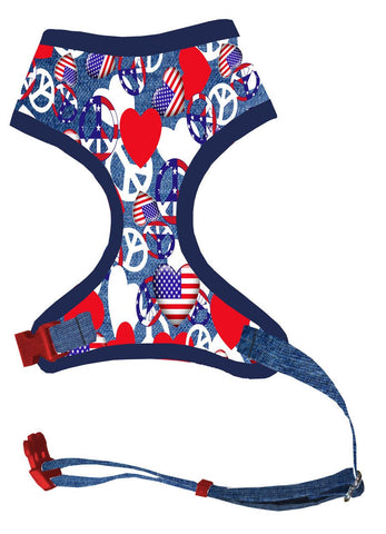 Dog Harness  - 4th of July Patriotic Independence Day Peace Sign and Heart Flags Harness