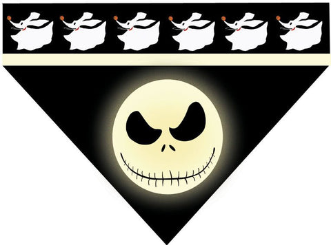 Halloween Over the Collar Dog Bandana - Jack Skellington and Zero
