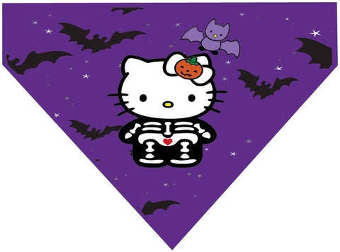 Halloween Over the Collar Dog Bandana - Hello Kitty and Bats