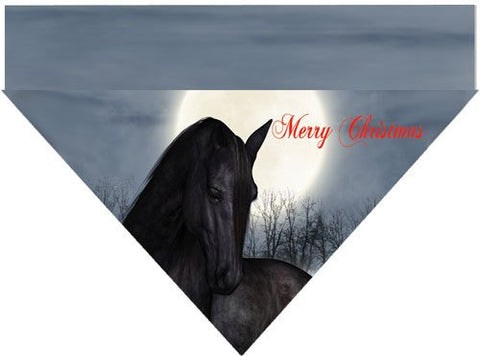 Christmas Over the Collar Dog Bandana - Merry Christmas Black Horse