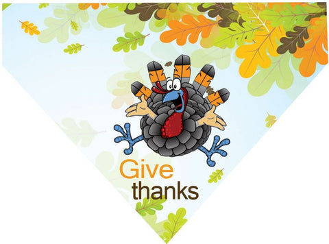 Thanksgiving Over the Collar Dog Bandana - Give Thanks Turkey