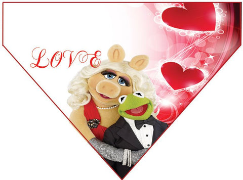 Valentine's Day Over the Collar Dog Bandana - Kermit and Miss Piggy