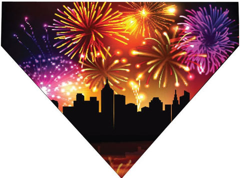 4th of July Over the Collar Dog Bandana - City Fireworks