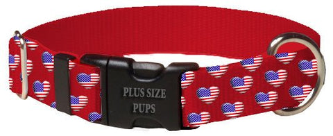 Print Pattern Dog Collar - 4th of July Heart Flag on Red Webbing