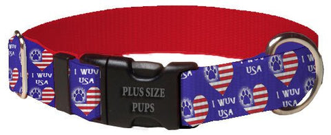 Print Pattern Dog Collar - 4th of July I Wuv USA