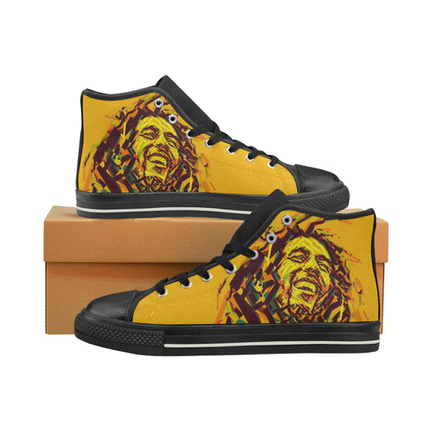 Bob Marley Black Mens Large Size Hightops