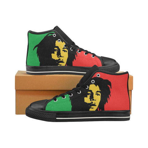 bob marley blk Men's High Top Canvas   (Large Size)