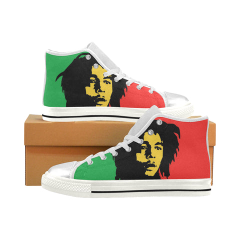 Bob Marley Womens White Hightops (Large Size)