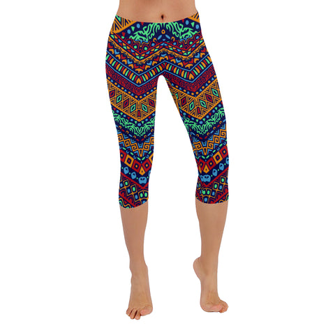3/4 length African Colorful Yoga Running Sports leggings