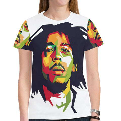 Bob Marley ladies mesh tshirt Women's All Over Print Mesh Cloth
