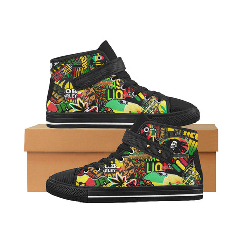 Bob Marley / Rasta shoes / Black / Canvas Hi Top Shoes / sticker bomb / high tops