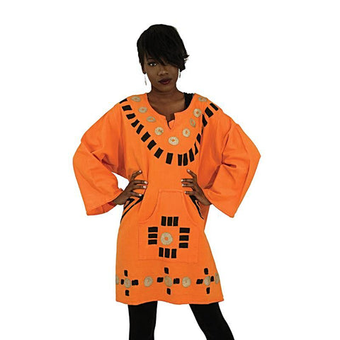 African Orange And Green Heavy Cloth Mud Print Dashiki