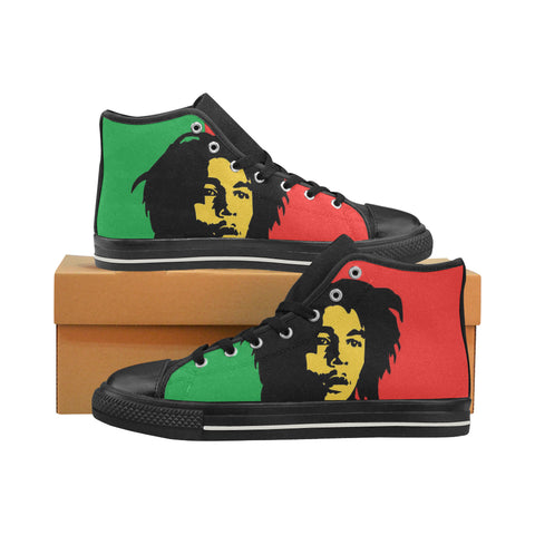 Bob Marley Womens Black Canvas Hightops