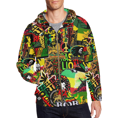 rasta sticker Bomb design Hoodies for men zip up hoodies Hoodie Large Size