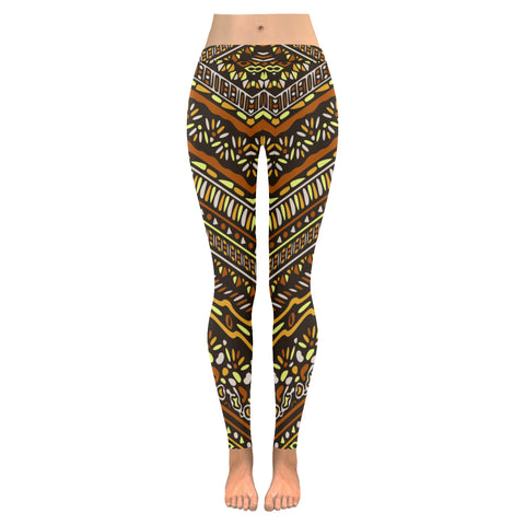 African Brown Print Full Length Yoga Running Sports Leggings