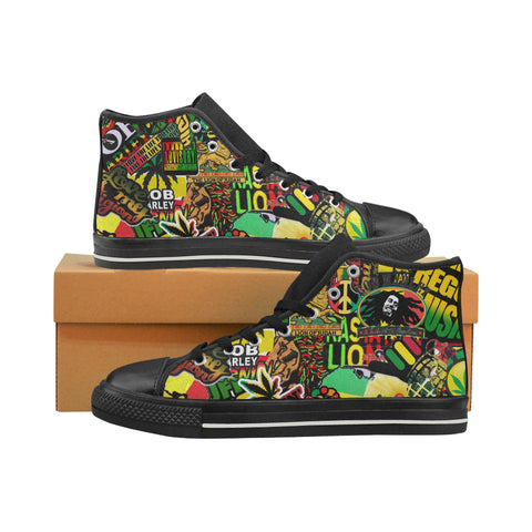 Bob Marley / Rasta shoes / Black / Canvas Hi Top Shoes / Rasta sticker bomb / high tops