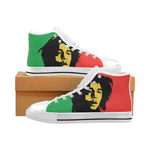 Mens White Bob Marley Canvas Hightops(Large Size)