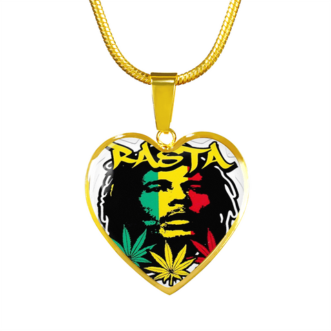 Rasta Bob Marley 18k Gold Finish Pendant Necklace