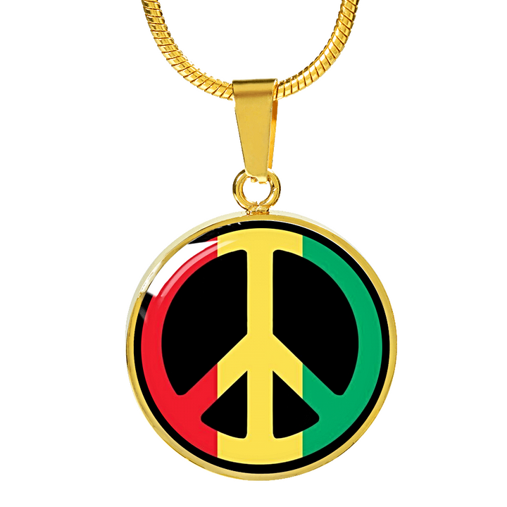 Rasta Peace Sign 18K Gold Circle Pendant Bangle with Necklace Variant Option