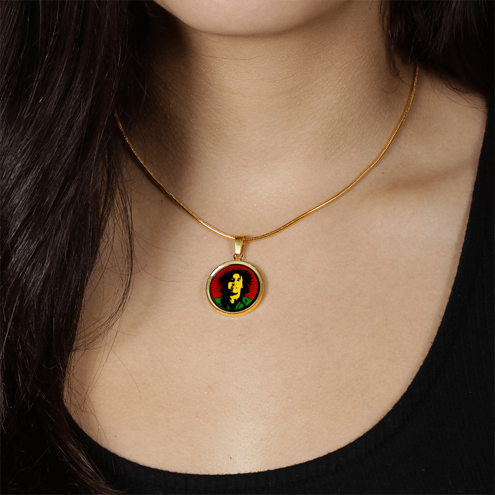 Rasta / Jewelry / Bob Marley / 18K Gold / Circle Pendant Bangle / necklaces for women / gold necklace / statement necklaces / bangles