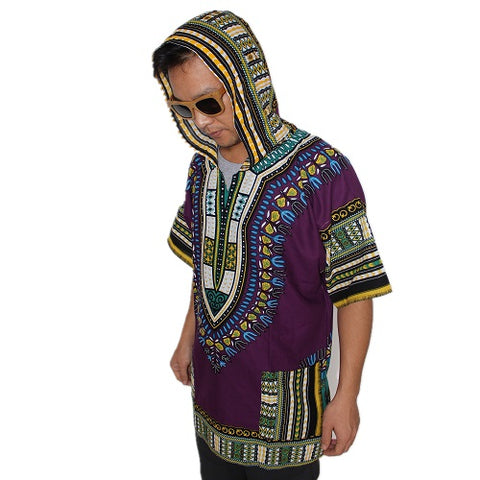 Hooded African dashiki short sleeve unisex cotton shirt