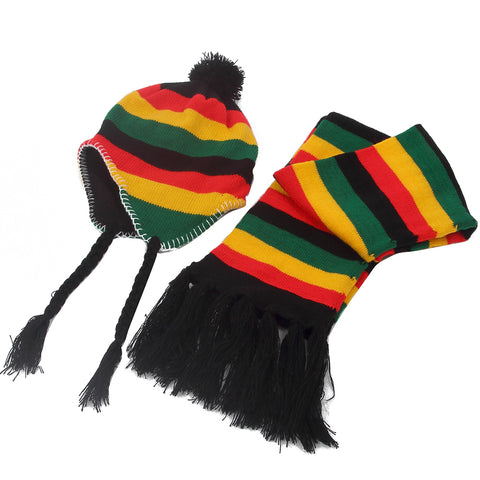 Unisex  Winter Jamaica Rasta  Stripe Beanie Hats And Scarf Sets For