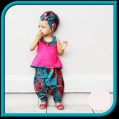 Children African  Batik Print  Girls Sleeveless Top and Long Pants Two Pieces