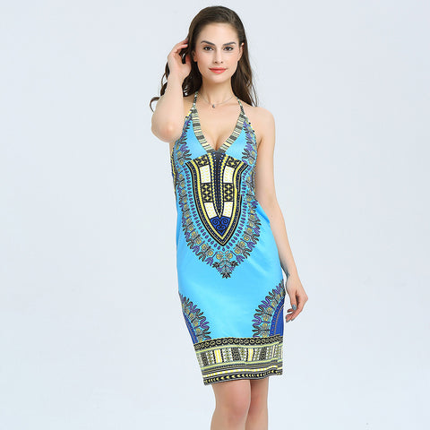 African summer strap dress top