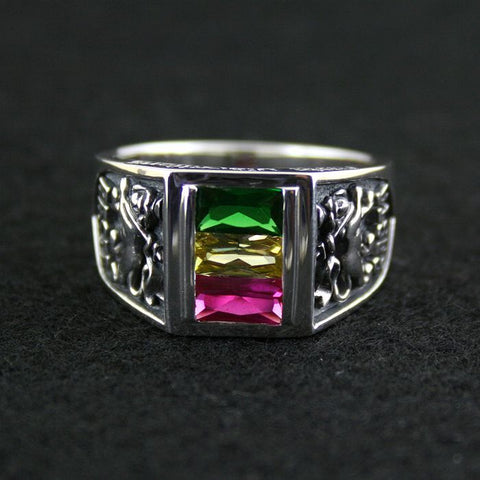 925 pure silver ring rasta vibration three-color crystal ring