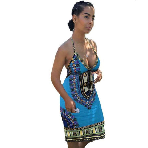 Sleeveless African Dashiki print Backless Dress