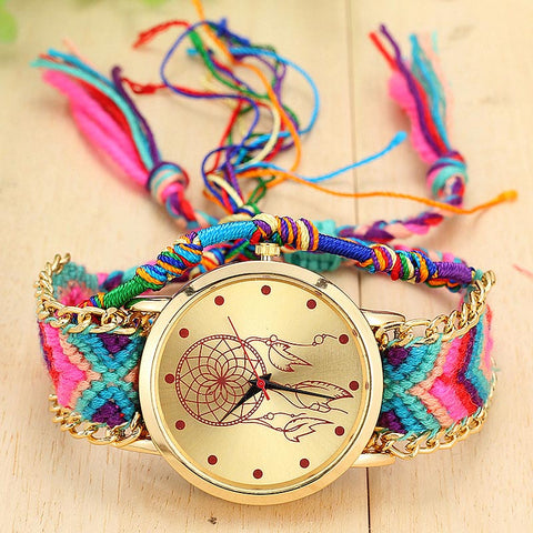 Free Women Ethnic Handmade Knitted  Dreamcatcher Wristwatch