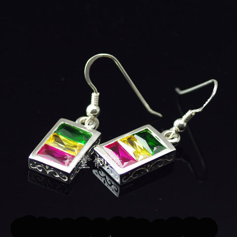 Rasta vibration RGY crystal pure silver earrings
