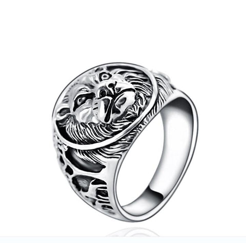 Handmade 925 Sterling Silver Men's Lion  ring jewelry