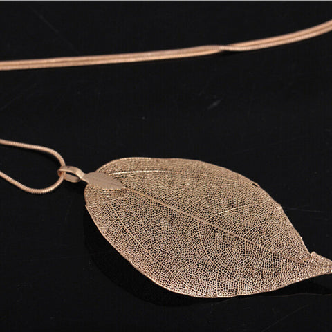 Real Leaf Pendant Necklace