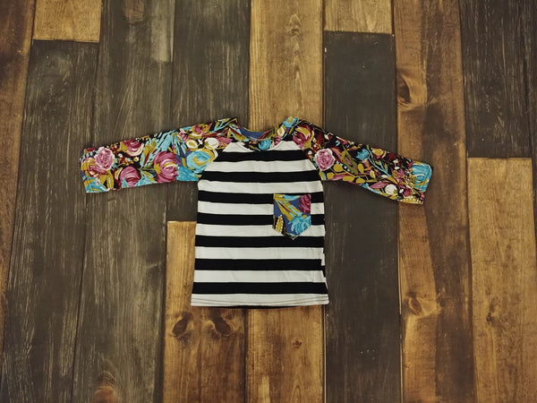 Pink Blue Floral Black Stripes Raglan Tee