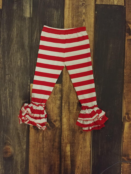 Red and White Stripes Truffle Triple Ruffle Legging