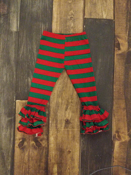 Green and Red Stripes Truffle Triple Ruffle Legging