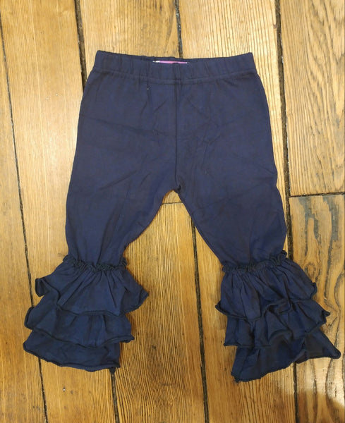 Navy Truffle Triple Ruffle Leggings