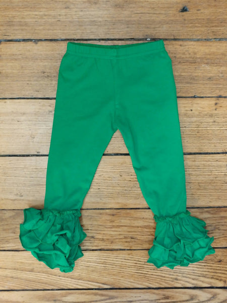 Green Truffle Triple Ruffle Leggings