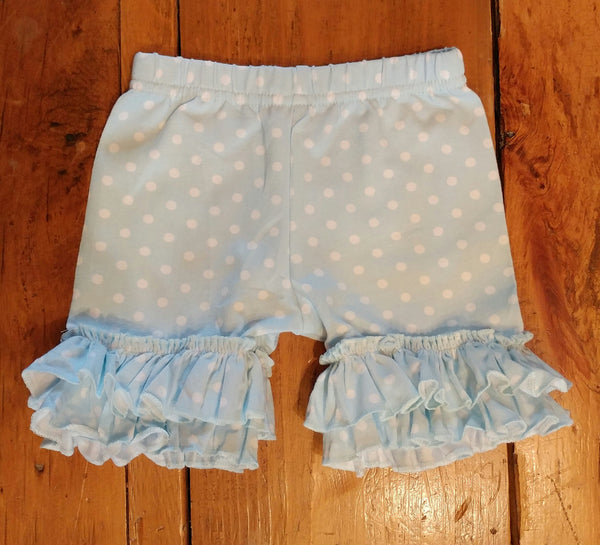 Light Blue Polka Dots Ruffle Shorts