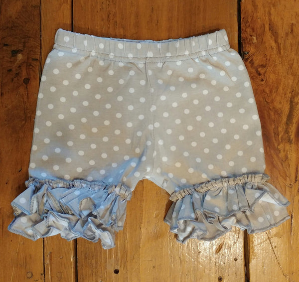 Grey Polka Dots Ruffle Shorts