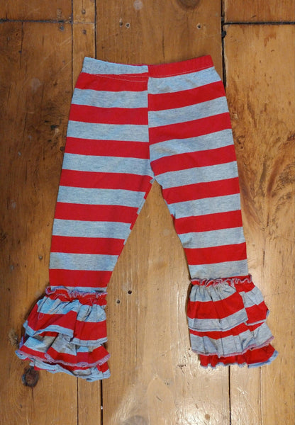 Red and Grey Stripes Truffle Triple Ruffle Leggings